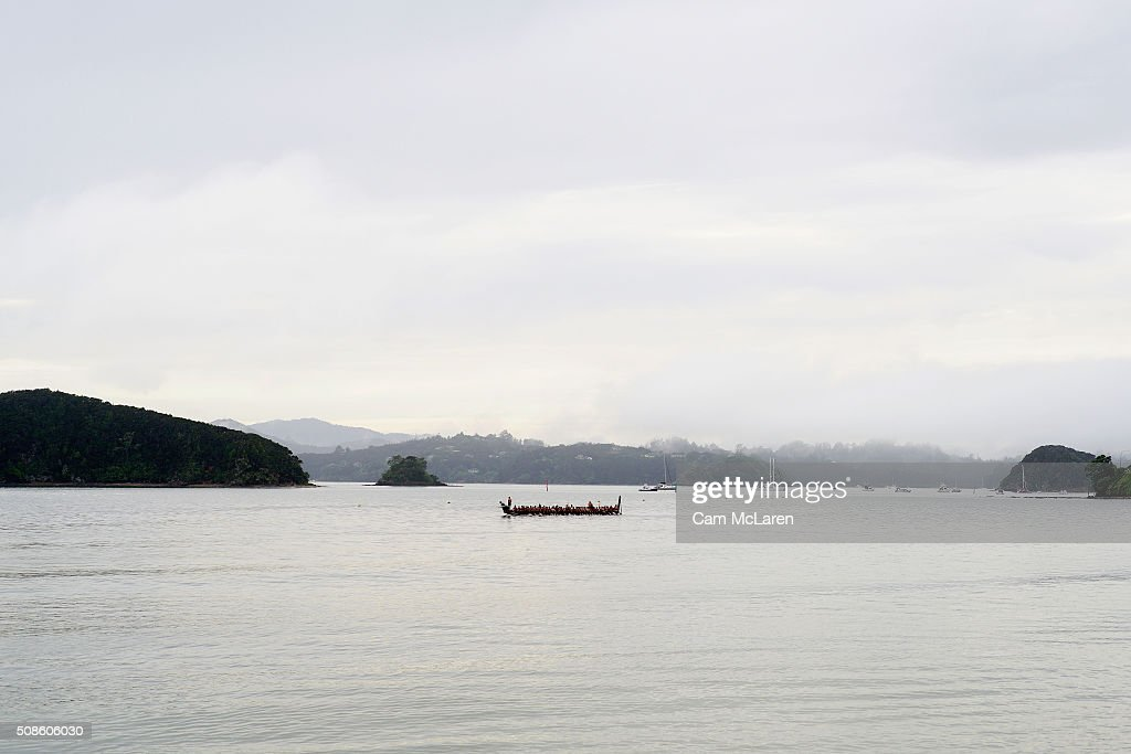 A Waka approaches the beach on February 6, 2016 in Waitangi, New Zealand. The Waitangi Day national holiday celebrates the signing of the treaty of Waitangi on February 6, 1840 by Maori chiefs and the British Crown, that granted the Maori people the rights of British Citizens and ownership of their lands and other properties.