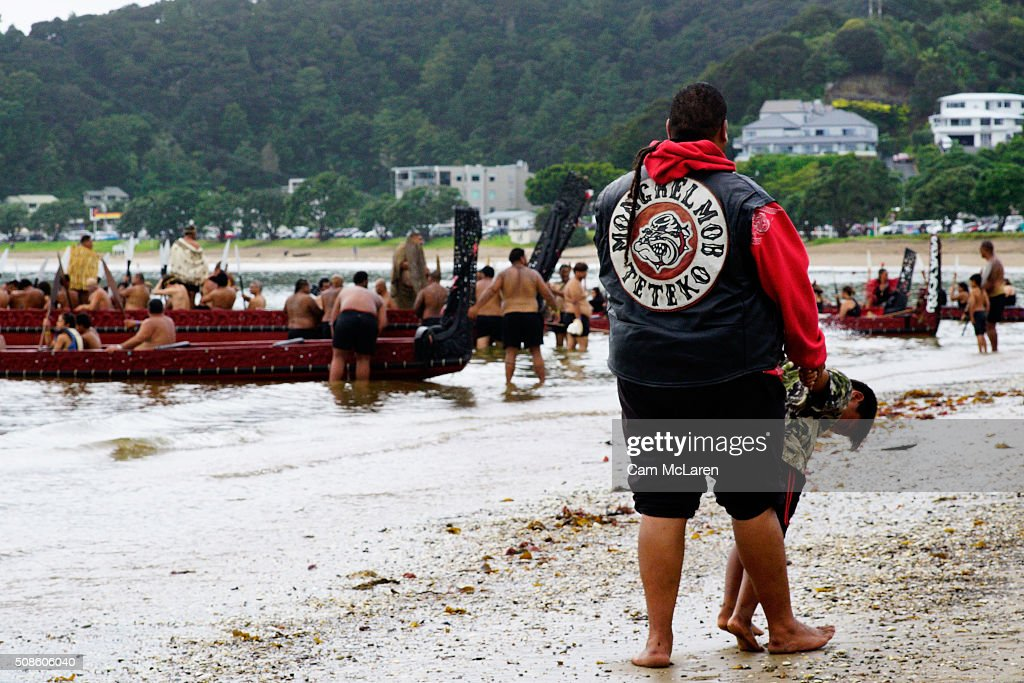 Waka are welcomed to the beach on February 6, 2016 in Waitangi, New Zealand. The Waitangi Day national holiday celebrates the signing of the treaty of Waitangi on February 6, 1840 by Maori chiefs and the British Crown, that granted the Maori people the rights of British Citizens and ownership of their lands and other properties.