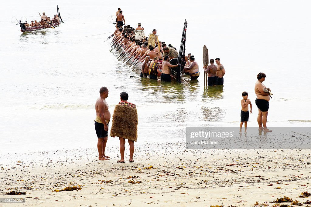 Waka are welcomed to the beech on February 6, 2016 in Waitangi, New Zealand. The Waitangi Day national holiday celebrates the signing of the treaty of Waitangi on February 6, 1840 by Maori chiefs and the British Crown, that granted the Maori people the rights of British Citizens and ownership of their lands and other properties.