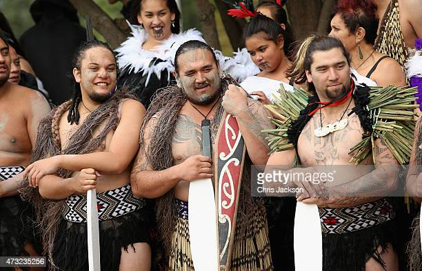 Waka crew laugh as they wait to transport Prince Harry on a Waka journey on the Whanganui River on May 14 2015 in Wanganui New Zealand Prince Harry...