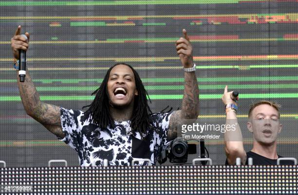 Waka Flocka and Diplo perform during the Ultra Music Festival at Bayfront Park Amphitheater on March 28 2014 in Miami Florida