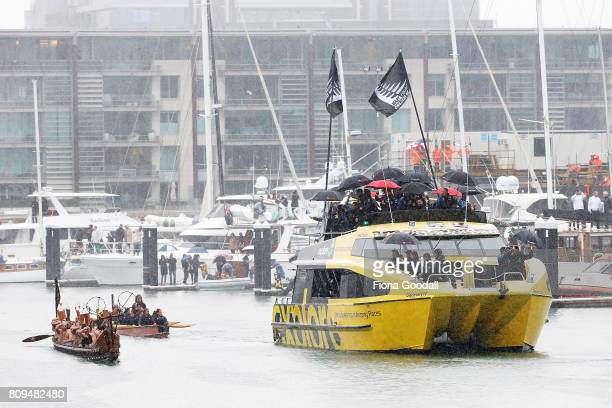 Waka lead Team New Zealand around the Viaduct Basin during the Team New Zealand Americas Cup Welcome Home Parade on July 6 2017 in Auckland New...