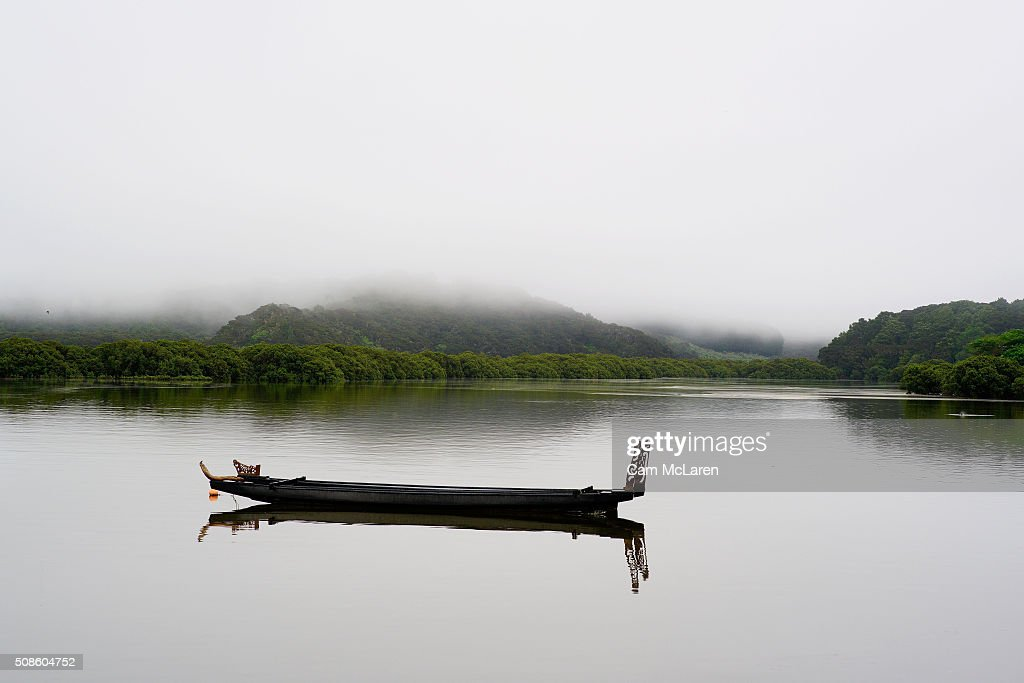 A Waka sits in solitude amongst the fog on February 6, 2016 in Waitangi, New Zealand. The Waitangi Day national holiday celebrates the signing of the treaty of Waitangi on February 6, 1840 by Maori chiefs and the British Crown, that granted the Maori people the rights of British Citizens and ownership of their lands and other properties.