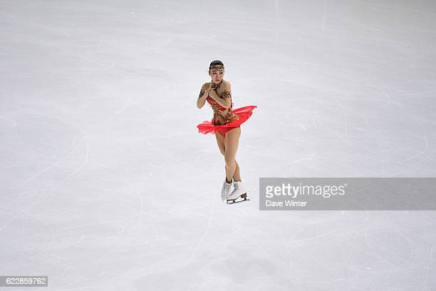 Wakaba Higuchi of Japan competes in the Womens Free Skating programme on day two of the ISU Grand Prix de France of Figure Skating at AccorHotels...