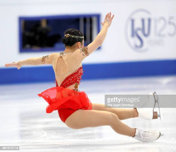 Wakaba Higuchi of Japan falls while competing in the Ladies Singles Free Skating during day three of the World Figure Skating Championships at...