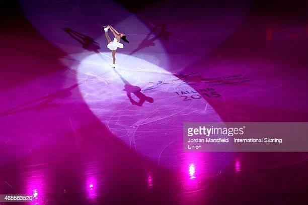 Wakaba Higuchi of Japan performs during the Gala Exhibition on Day 5 of the ISU World Junior Figure Skating Championships at Tondiraba Ice Arena on...