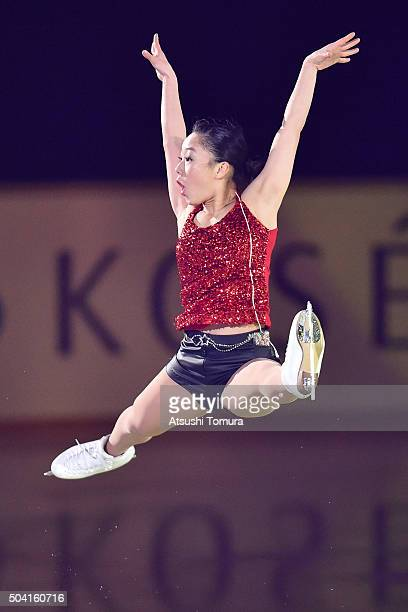 Wakaba Higuchi of Japan performs her routine during the NHK Special Figure Skating Exhibition at the Morioka Ice Arena on January 9 2016 in Morioka...