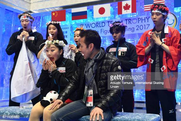 Wakaba Higuchi of Japan reacts at kiss and cry after the Ladies free skating during the 3rd day of the ISU World Team Trophy 2017on April 22 2017 in...