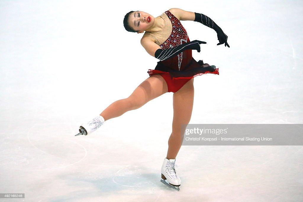 Wakaba Higuchi of Japan skates during the junior ladies free skating of the ISU Junior Grand Prix at Dom Sportova on October 10 2015 in Zagreb Croatia