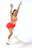 Wakaba Higuchi of Japan skates during the junior ladies short dance of the ISU Junior Grand Prix at Dom Sportova on October 8 2015 in Zagreb Croatia