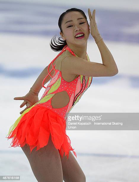 Wakaba Higuchi of Japan skates during the junior ladies short program of the ISU Junior Grand Prix of figure skating on September 10 2015 in Linz...