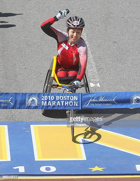Wakako Tsuchida gets set to cross the finish line to win the women's wheelchair division of the 114th Boston Marathon on April 19 2010 in Boston...