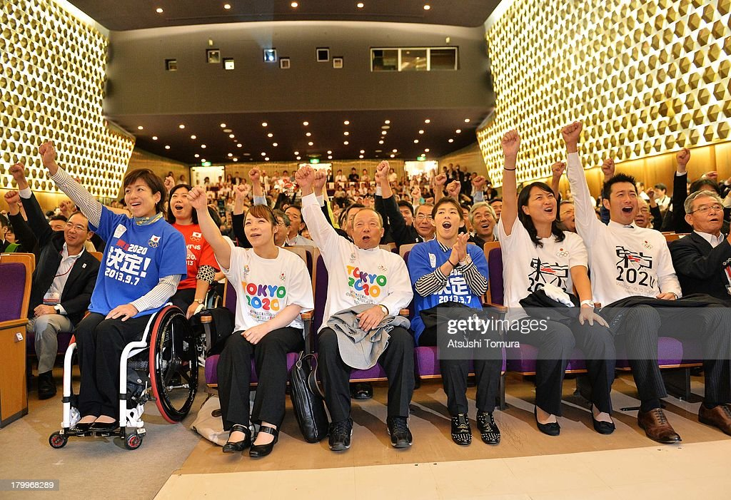 Wakako Tsuchida, <a gi-track='captionPersonalityLinkClicked' href=/galleries/search?phrase=Hiromi+Miyake&family=editorial&specificpeople=2163001 ng-click='$event.stopPropagation()'>Hiromi Miyake</a>, Yoshiyuki Miyake, <a gi-track='captionPersonalityLinkClicked' href=/galleries/search?phrase=Saori+Yoshida&family=editorial&specificpeople=2374710 ng-click='$event.stopPropagation()'>Saori Yoshida</a>, <a gi-track='captionPersonalityLinkClicked' href=/galleries/search?phrase=Ai+Shibata&family=editorial&specificpeople=224051 ng-click='$event.stopPropagation()'>Ai Shibata</a>, <a gi-track='captionPersonalityLinkClicked' href=/galleries/search?phrase=Junichi+Miyashita&family=editorial&specificpeople=2089969 ng-click='$event.stopPropagation()'>Junichi Miyashita</a> and <a gi-track='captionPersonalityLinkClicked' href=/galleries/search?phrase=Yuichiro+Miura&family=editorial&specificpeople=2338014 ng-click='$event.stopPropagation()'>Yuichiro Miura</a> reacts after it was announced that Tokyo has won the bid to host the 2020 Summer Olympic Games during the viewing of 2020 Summer Olympic Games host city announcement at Tosho Hall on September 8, 2013 in Tokyo, Japan. Madrid was the first city to be eliminated, followed by Istanbul. Tokyo won the right to host the 2020 Summer Olympic Games, defeating Istanbul in the final ballot.