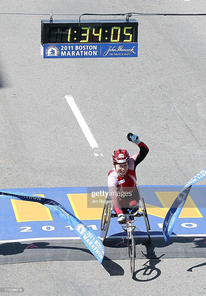 Wakako Tsuchida of Japan wins the women's wheelchair division of the 115th running of the Boston Marathon on April 18, 2011 in Boston, Massachusetts.