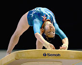 Wakana Inoue competes in the horse vault during day one of the Artistic Gymnastics NHK Trophy at Yoyogi Gymnasium on June 7 2014 in Tokyo Japan