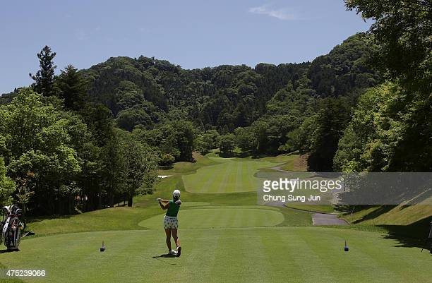 Wakana Osada of Japan plays a tee shot during the second round of the Resorttrust Ladies at the Maple Point Golf Club on May 30 2015 in Yamanashi...