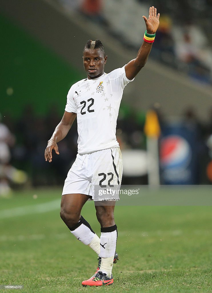 <a gi-track='captionPersonalityLinkClicked' href=/galleries/search?phrase=Wakaso+Mubarak&family=editorial&specificpeople=7523524 ng-click='$event.stopPropagation()'>Wakaso Mubarak</a> of Gana in action during the 2013 Africa Cup of Nations Semi-Final match between Burkina Faso and Ghana at the Mbombela Stadium on February 6, 2013 in Nelspruit, South Africa.