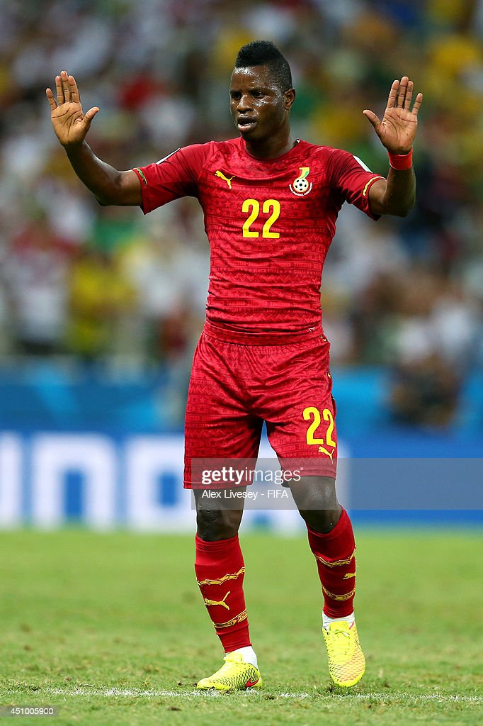 <a gi-track='captionPersonalityLinkClicked' href=/galleries/search?phrase=Wakaso+Mubarak&family=editorial&specificpeople=7523524 ng-click='$event.stopPropagation()'>Wakaso Mubarak</a> of Ghana reacts during the 2014 FIFA World Cup Brazil Group G match between Germany and Ghana at Castelao on June 21, 2014 in Fortaleza, Brazil.