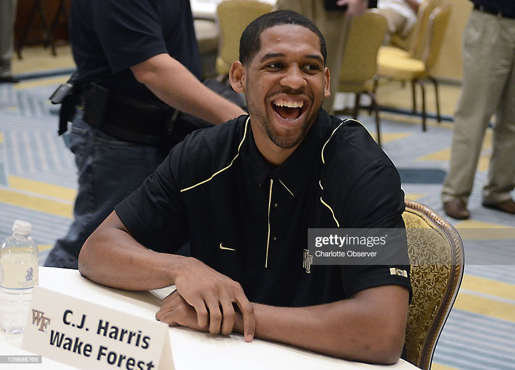 Wake Forest basketball player <a gi-track='captionPersonalityLinkClicked' href=/galleries/search?phrase=C.J.+Harris+-+Basketballer&family=editorial&specificpeople=12527142 ng-click='$event.stopPropagation()'>C.J. Harris</a> talks with the media during an ACC Operation Basketball event at the Ritz-Carlton in Charlotte, North Carolina, Wednesday, October 19, 2011.