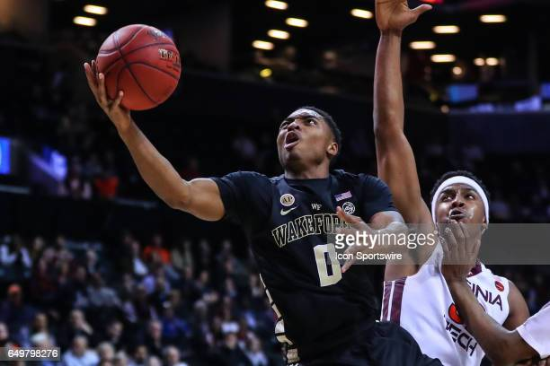 Wake Forest Demon Deacons guard Brandon Childress shoots during the first half of the 2017 New York Life ACC Tournament second round game between the...