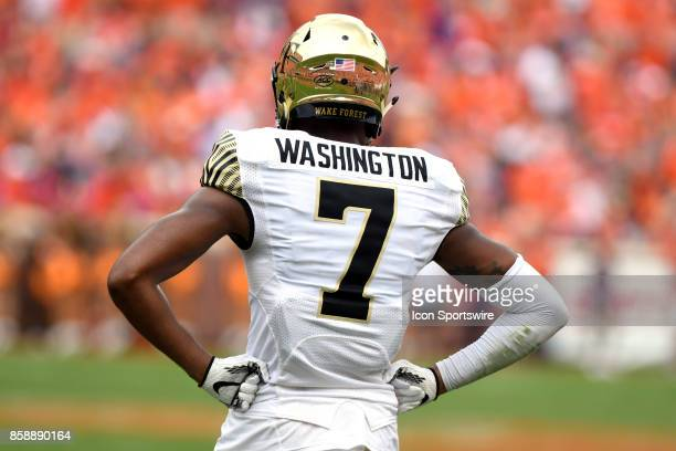 Wake Forest Demon Deacons wide receiver Scotty Washington stands on the field during a time out during the ACC college football game between the Wake...