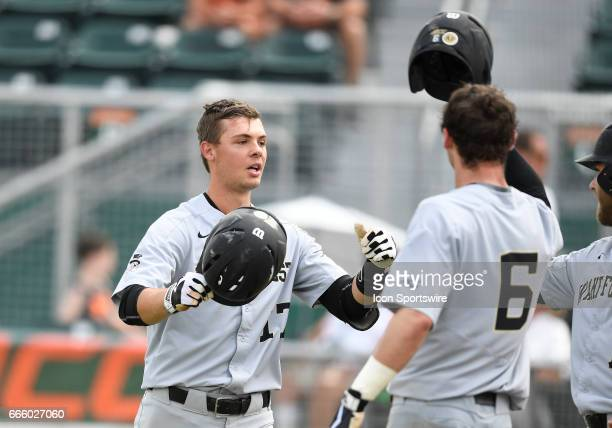 Wake Forest infielder Bruce Steel hit a home run during a college baseball game between the wake Forest University Demon Deacons and the University...