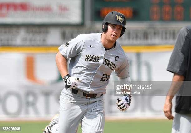 Wake Forest infielder Gavin Sheets hit a three run home run during a college baseball game between the wake Forest University Demon Deacons and the...