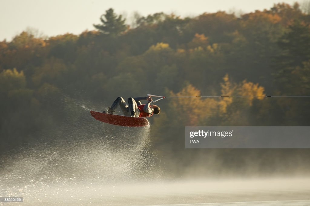Wakeboarder Jumping In Lake : Stock Photo
