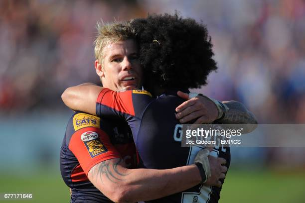 Wakefield Wildcats' Glenn Morrison and Luke George celebrate at the end of the game