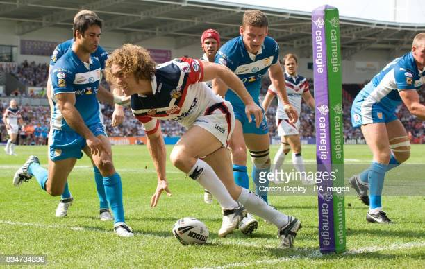 Wakefield's Matt Petersen scores a try during the Carnegie Challenge Cup Semi Final at the Keepmoat Stadium in Doncaster