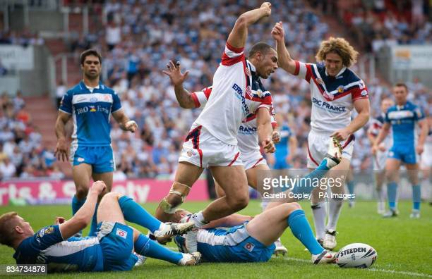Wakefield's Ryan Atkins celebrates after scoring a try during the Carnegie Challenge Cup Semi Final at the Keepmoat Stadium in Doncaster