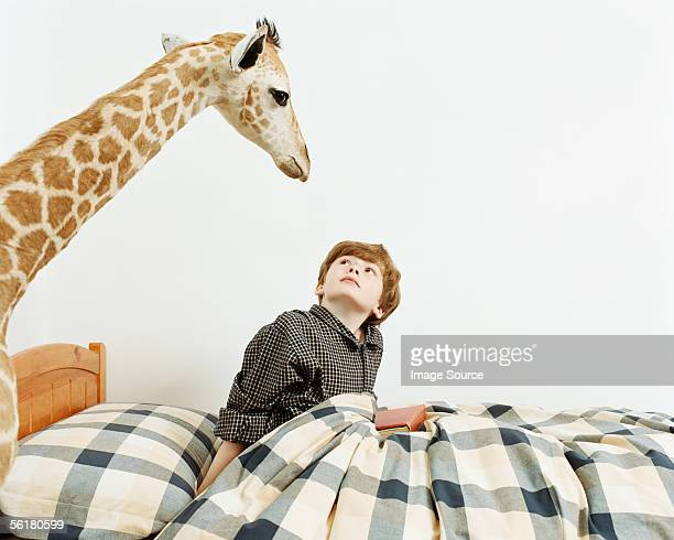 Waking boy surprised to see a giraffe