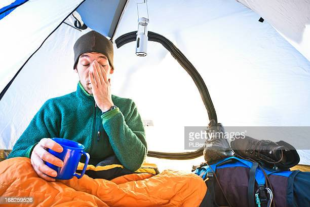 Waking up in a tent