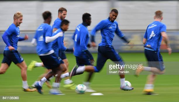 Walace contrils the ball during a training session of Hamburger SV on August 31 2017 in Hamburg Germany