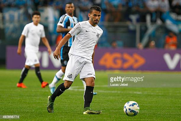 Walace of Gremio battles for the ball against Thiago Maia of Santos during the match Gremio v Santos as part of Brasileirao Series A 2015 at Arena do...