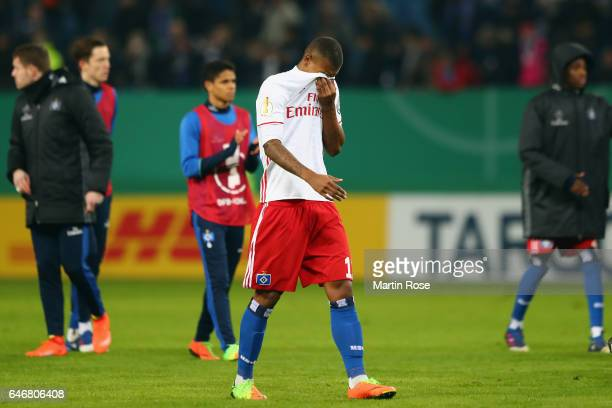 Walace of Hamburg reacts after the DFB Cup quarter final between Hamburger SV and Borussia Moenchengladbach at Volksparkstadion on March 1 2017 in...