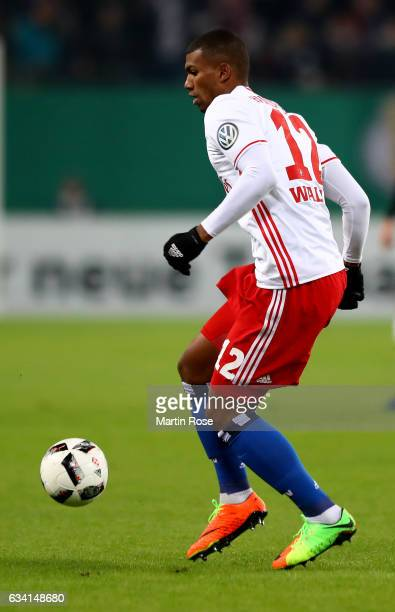 Walace of Hamburg runs with the ball during the DFB Cup round of 16 match between Hamburger SV and 1 FC Koeln at Volksparkstadion on February 7 2017...