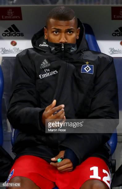 Walace of Hamburg sits on the bench before the Bundesliga match between Hamburger SV and Bayer 04 Leverkusen at Volksparkstadion on February 3 2017...