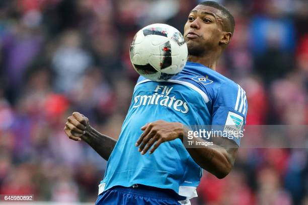 Walace Souza Silva of Hamburg controls the ball during the Bundesliga match between Bayern Muenchen and Hamburger SV at Allianz Arena on February 25...