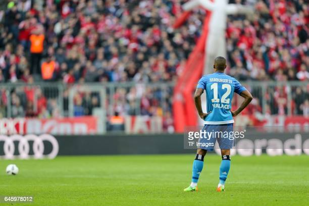 Walace Souza Silva of Hamburg looks dejected during the Bundesliga match between Bayern Muenchen and Hamburger SV at Allianz Arena on February 25...