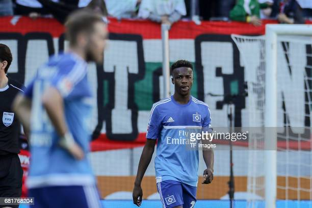 Walace Souza Silva of Hamburg looks dejected during the Bundesliga match between FC Augsburg and Hamburger SV at WWK Arena on April 30 2017 in...