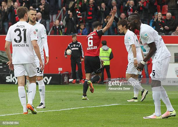 Waldemar Anton Milosevic Sjoestroem Hiroshi Kiyotake and Salif Sane of Hannover 96 react after Ingolstadt's Alfredo Morales celebrates his team's...