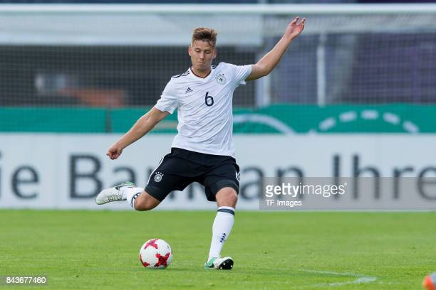 Waldemar Anton of Germany controls the ball during the U21 UEFA 2018 EM Qualifying match between Germany and Kosovo at the Stadion Bremer Bruecken in...