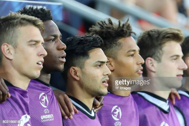 Waldemar Anton of Germany Gideon Jung of Germany Nadiem Amiri of Germany Thilo Kehrer of Germany during the UEFA European Under21 Championship Group...