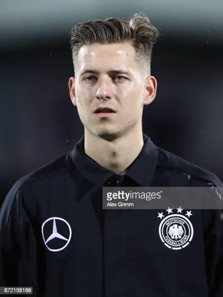 Waldemar Anton of Germany looks on prior to the UEFA Under21 Euro 2019 Qualifier match between Azerbaijan U21 and Germany U21 at Dalga Arena on...