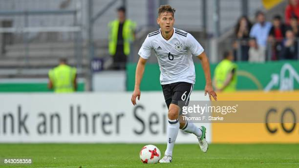 Waldemar Anton of Germany runs with the ball during the UEFA Euro 2019 Qualifier match between Germany U21 and Kosovo U21 at Osnatel Arena on...