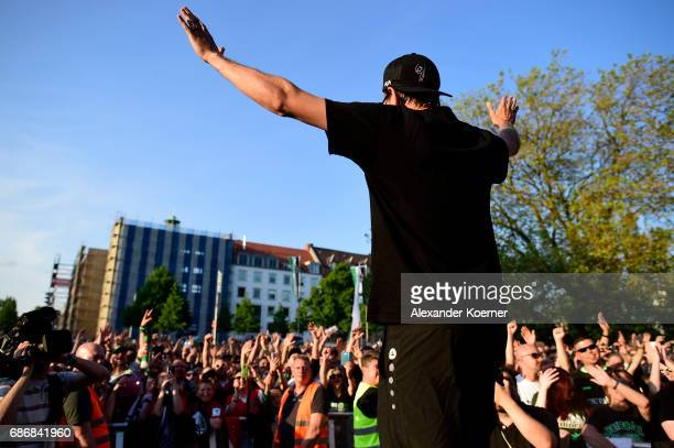Waldemar Anton of Hannover 96 celebrates together with their supporters the promotion to 1 Bundesliga at Neues Rathaus on May 22 2017 in Hanover...