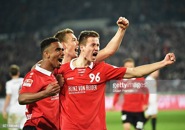 Waldemar Anton of Hannover celebrates scoring his goal during the Bundesliga match between Hannover 96 and Borussia Moenchengladbach at HDIArena on...
