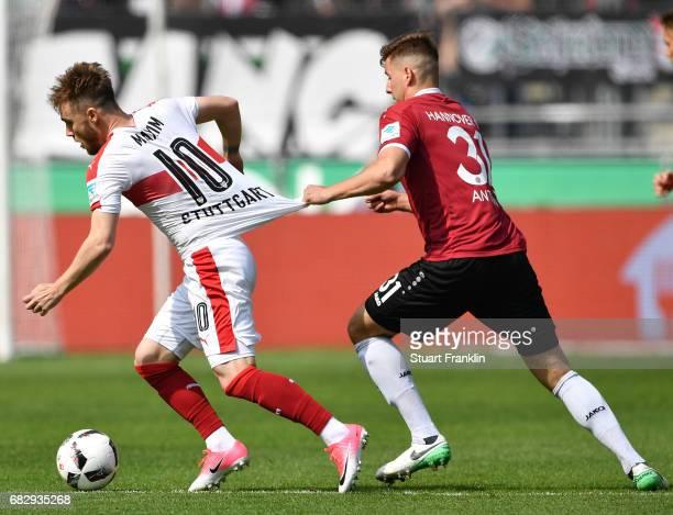 Waldemar Anton of Hannover challenges Alexandru Iulian Maxim of Stuttgart during the Second Bundesliga match between Hannover 96 and VfB Stuttgart at...