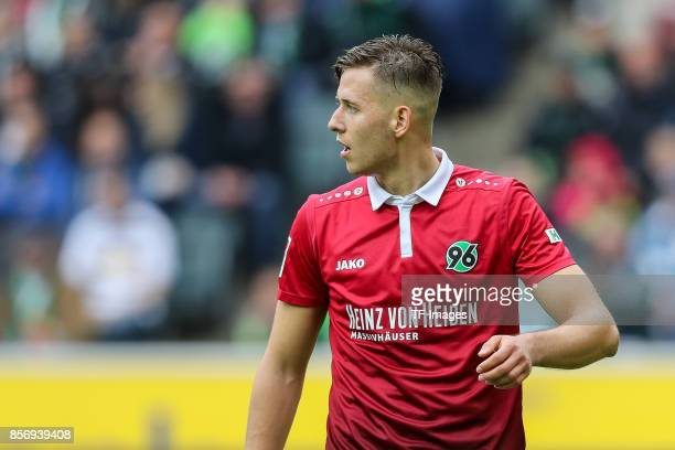 Waldemar Anton of Hannover looks on during the Bundesliga match between Borussia Moenchengladbach and Hannover 96 at BorussiaPark on September 30...